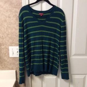 Merona Ladies Striped V-Neck Sweater, Size XXL